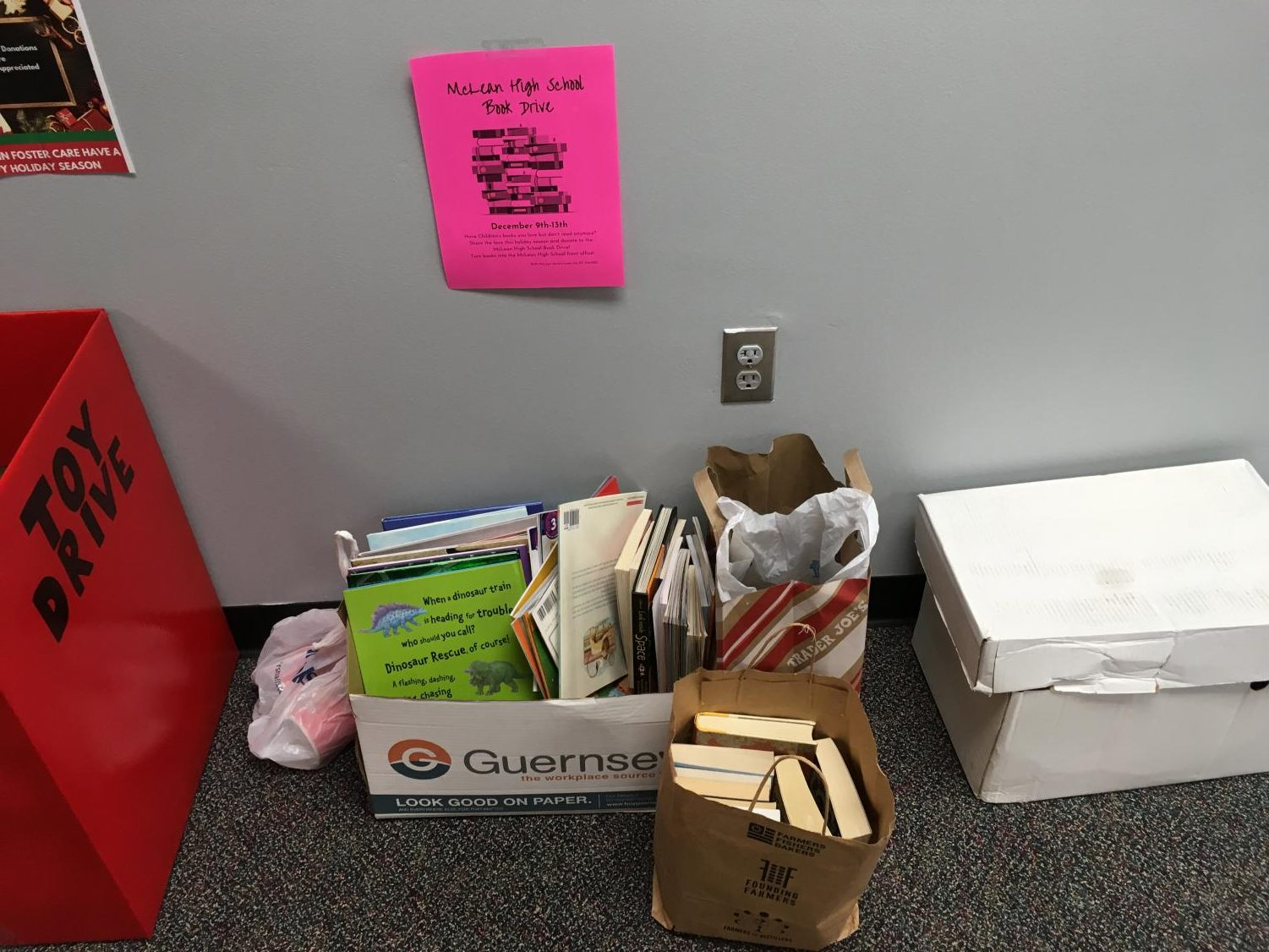 The book drive box gathers more and more reading material as the days pass by.