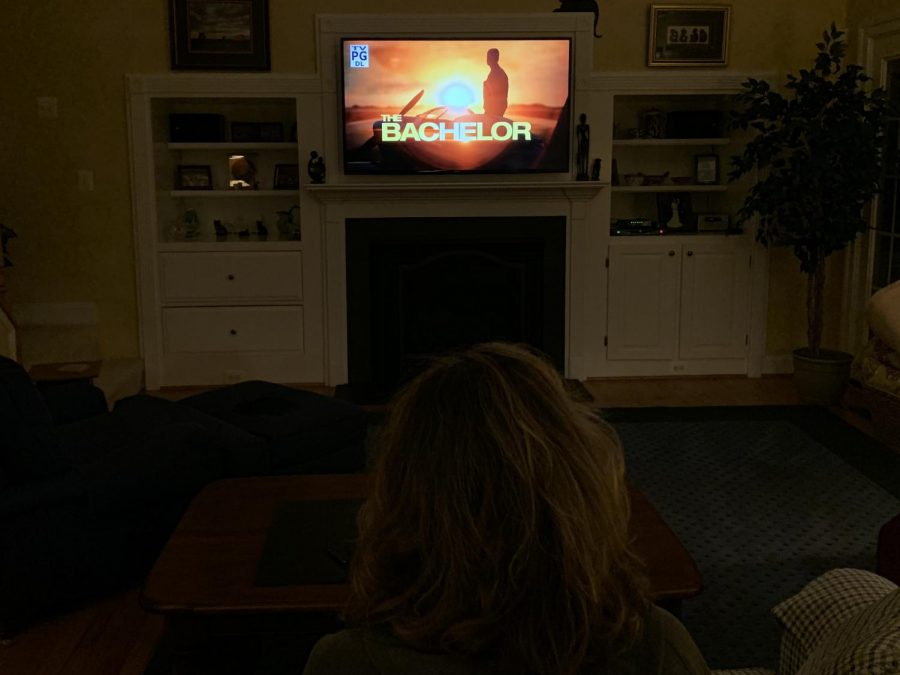 BACHELOR PREMIER- Bachelor fan intently watches the exciting new premier of Peter's season. To learn more about the show, visit their instagram @bachelorabc.