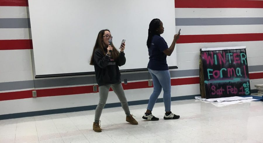 Seniors Sophia Belevedere and Kadijat Oyediran dance and sing to the song