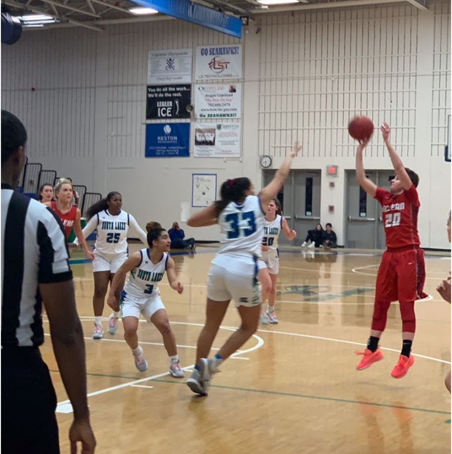 Nothing But Net—Senior guard Elizabeth Dufrane pulls up for a near elbow jump-shot. Quick shots were utilized by McLean to keep South Lakes on their toes.