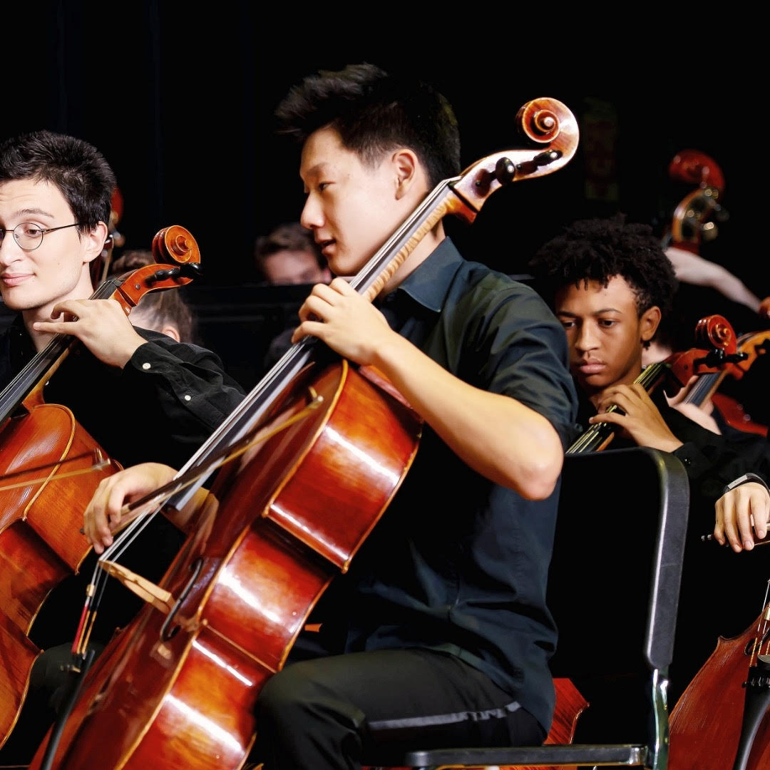 Han leads the cello section of Philharmonic Orchestra in a school concert during his junior year. This year, he will play the Haydn  Concerto in C Major as his senior solo.