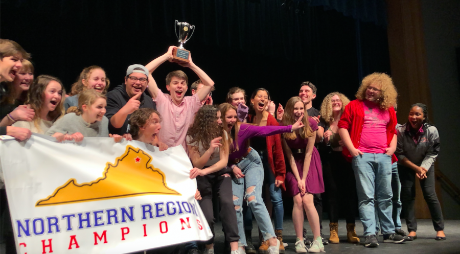 TheatreMcLean celebrates their victory on stage at regionals