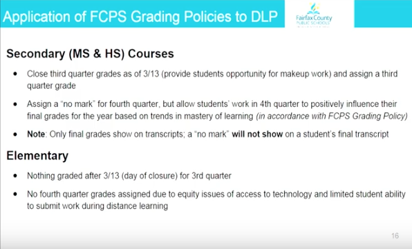 Presentation of Distance Learning Plan slide outlines basic grading policy for the remainder of the school year