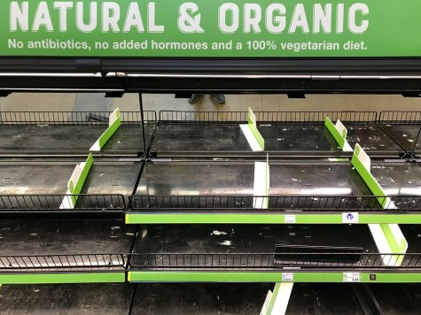 Food and other necessary supplies fly off the shelves as people prepare for the worst.