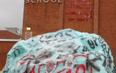 SENIORS SPEAK UP - The rock outside of McLean High School is known to be a piece of art displaying events happening around the school. With the coronavirus outbreak causing schools to shut down for the remainder of the academic year, seniors painted the rock to express their disappointment.