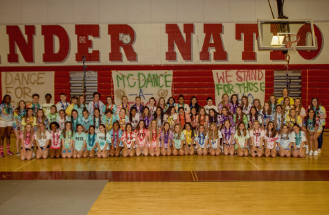 """McDance-A-Thon poses for a picture right before their last in-person dance. """"After we found out that COVID was only progressing and there was no chance of having an in-person dance during the school year we decided as a club that we should do a virtual dance so we can still hit our goal of 60,000 dollars,"""" Jabboure said"""