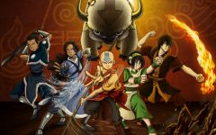 The picture consists of all the six main characters: Aang, Katara, Zuko, Toph, Sakka and their flying bison, Appa.
