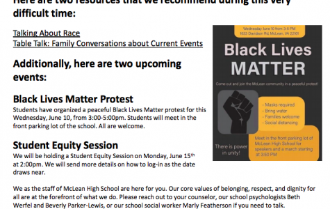 Black Lives Matter- McLean students have organized a protest fin support of the Black Lives Matter movement on June 10. They spread the word through the school's newsletter (screenshot taken by Cordelia Lawton).