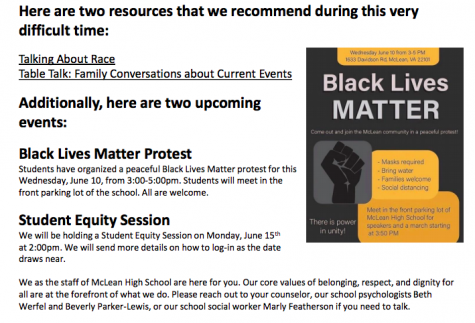 Black Lives Matter- McLean students have organized a protest fin support of the Black Lives Matter movement on June 10. They spread the word through the school