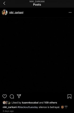 Supporters of the BlackLiveMatters movement posting a black screen.