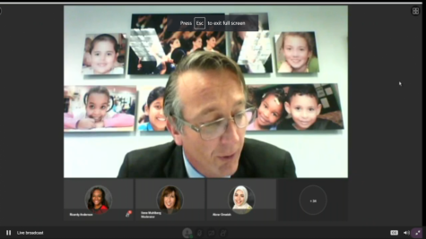 Superintendent Scott Brabrand addresses board members via an online meeting about his new proposal. The board voted to go 100% virtual in the fall.