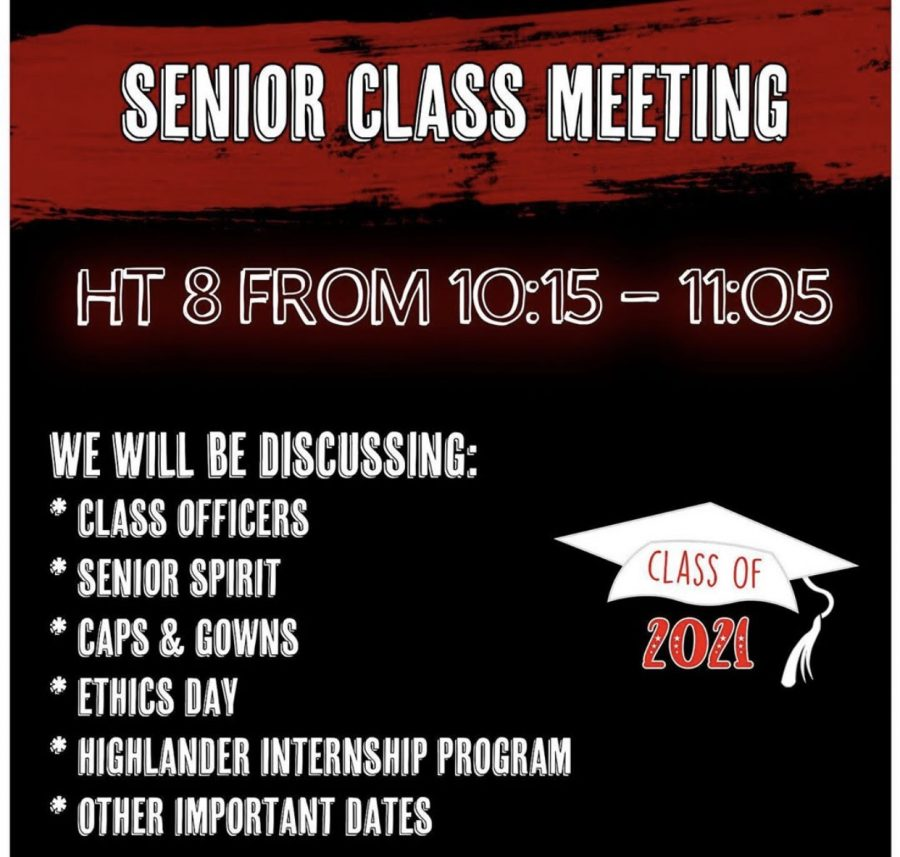 The senior class officers posted this on their Instagram to get seniors excited to attend the virtual meeting. The meeting was held during Highlander Time 8 on Oct.14.
