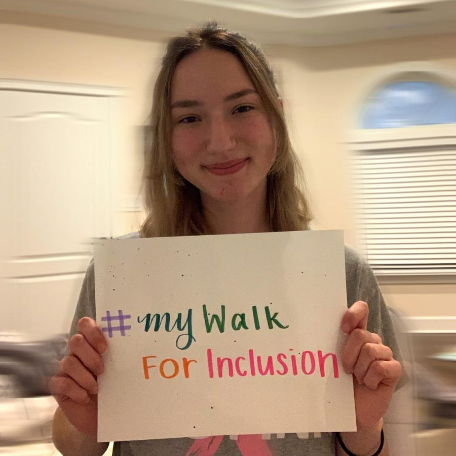 #MyWalkForInclusion- sophomore Estelle Harnisch displays her support for the virtual walk. She attended the virtual walk, and then shared her support on their Instagram account dedicated to positivity.