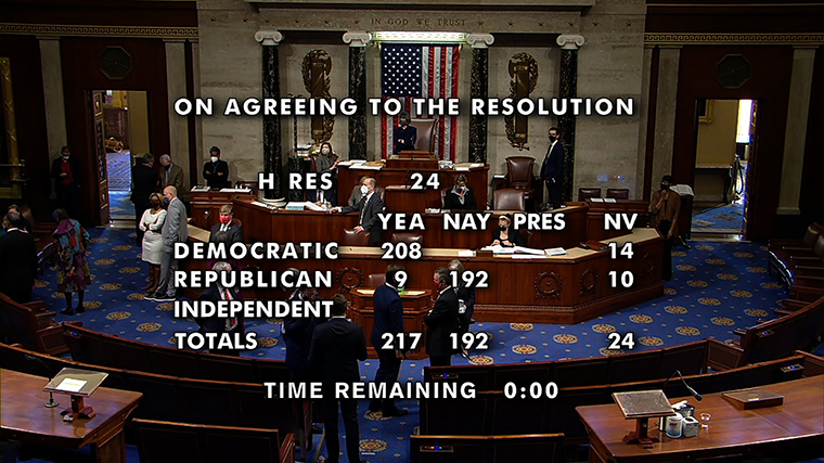Members of the U.S. House of Representatives convened on Wednesday to vote on a second set of articles of impeachment against President Trump. The resolution passed, meaning the articles will be given to the Senate, where the higher chamber will hold trial for the president.