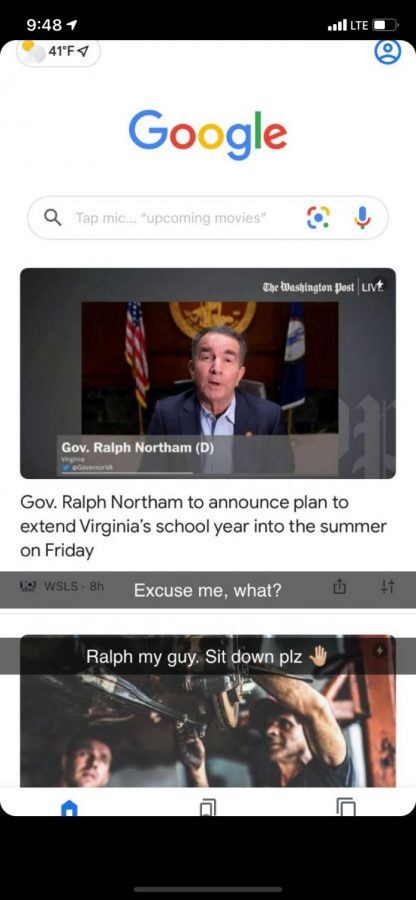 Junior Michaela Aka reacts to Governor Northam's summer school suggestion on Snapchat. Aka opposes push for schools to extend the academic year into summer break.