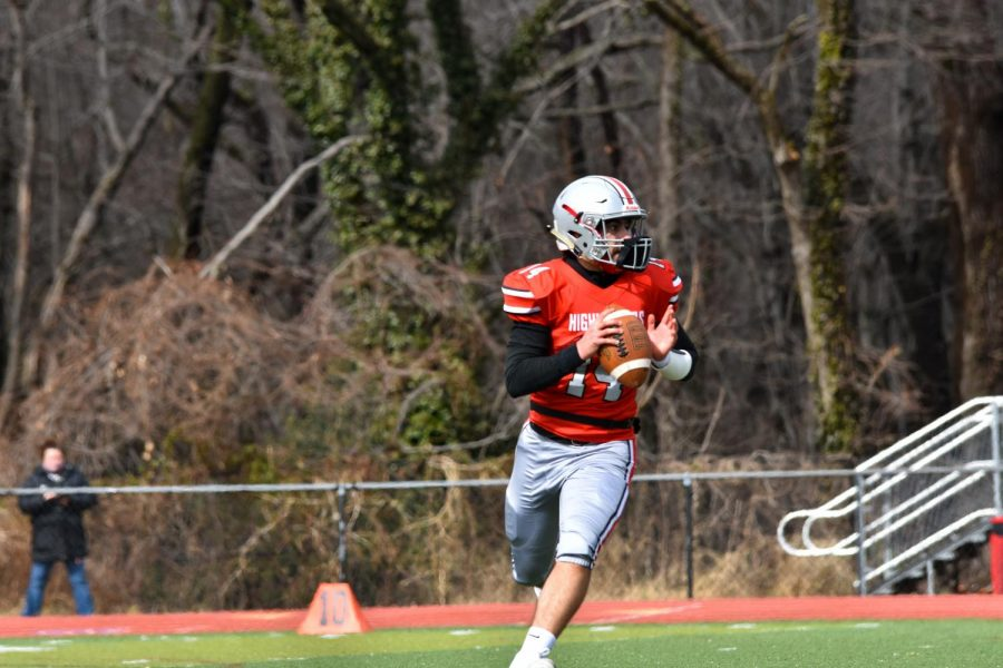 THROWING DIMES: Senior Bijan Soltani is an integral part of the Highlander's aggressive offense, resulting in the 28-14 victory over the Majors.