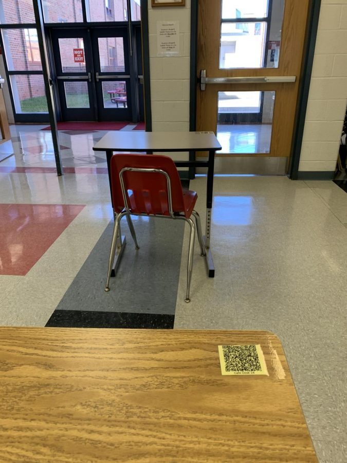 This is a desk in the cafeteria where students eat lunch. At the top right of the desk, students scan the QR code to indicate they have sat there.