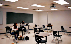 SCARCELY POPULATED - Nate Van Nuys' 3rd period Geometry class had just a few students present in the classroom on Thursday, March 18. About 44% of students have returned to the building, down from the 70% who previously said they would return.