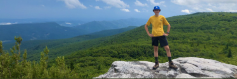 Sophomore Max Blacksten stands atop the Shenandoah valley in Virginia. Blacksten plans to go camping over spring break.