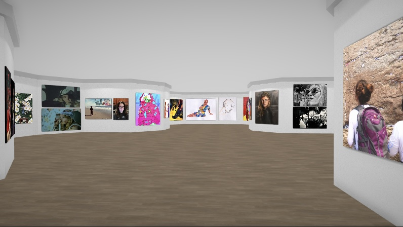 "VIRTUAL GALLERY EXPERIENCE — Visitors can walk through the gallery and click on the artwork. ""You can increase the size of individual pieces to really just fill up the whole wall, so I think that allows you to really showcase the piece,"" Elias said."