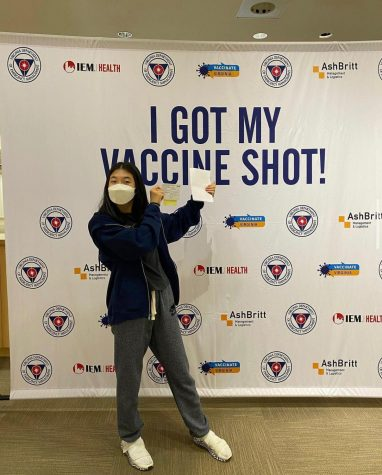 POWERFUL VACCINE - Junior Cheryn Hong has received her vaccine shot, a step she has taken in order to keep herself and those around her safe. More people around the country are eligible to take the vaccine in hopes of returning to what life was like before the pandemic.