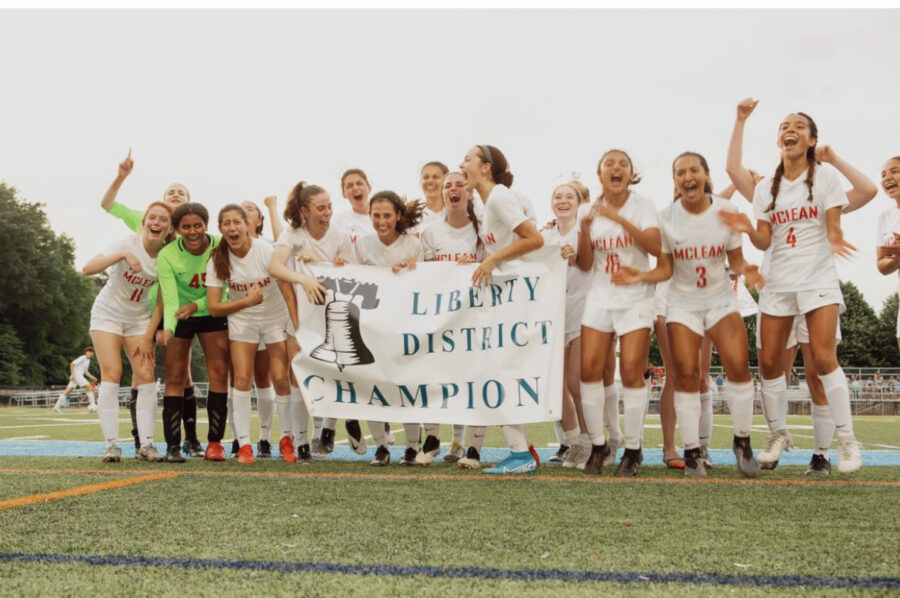 FULL CIRCLE - The team rejoices after the final penalty kick. In Spring of 2018, McLean played in the district finals at Yorktown, only to have lost in the penalty kick portion. Three years later, they reversed the curse of the Yorktown field.