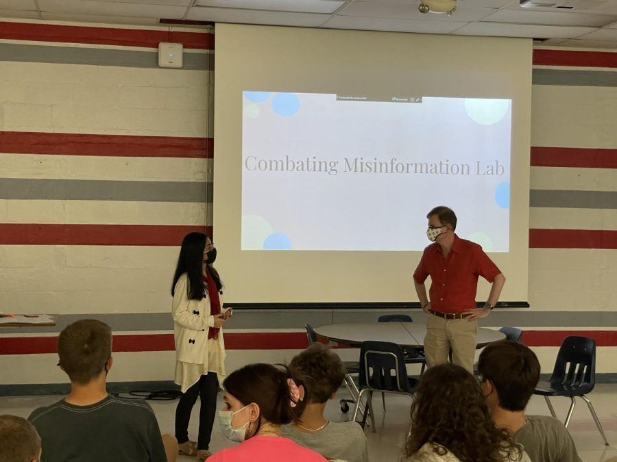 Aleena Gul, founder of the Combating Misinformation Lab, speaks with Glenn Kessler in front of an audience in the Lecture Hall.